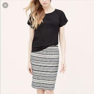 Loft Jacquard pencil skirt
